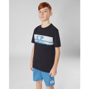 CP Company kids junior t-shirt met logo print in de kleur donkerbauw