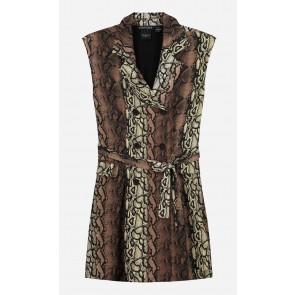 Nik en Nik girls  jurk Genesis dress met snake print in de kleur bruin/zwart
