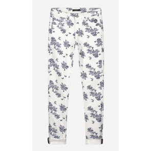 Nik en Nik girls broek skinny fit Fiona jungle denim  in de kleur blauw/wit