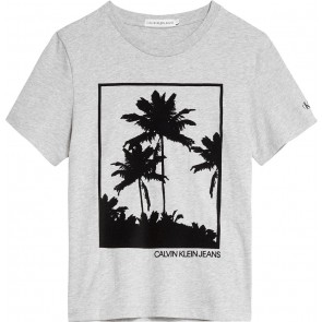 Calvin Klein jeans kids boys palm graphic t-shirt in de kleur grijs