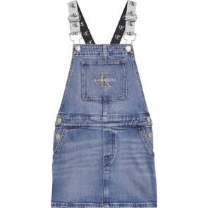 Calvin Klein jeans dungaree monogram dress jurk in de kleur jeansblauw