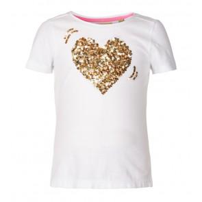 Le Big girls pailletten glitter hart t-shirt in de kleur goud/off white