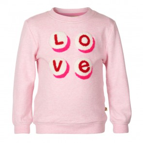 Le Big girls sweater trui Love in de kleur zachtroze