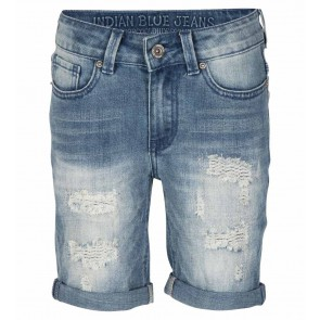 Indian blue jeans boys blue dann jog short repaired korte broek in de kleur jeansblauw