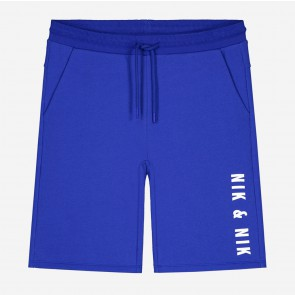 Nik en Nik kids boys sweatshort Lathan shorts in de kleur space blue