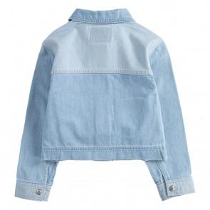 Levi's strauss girls kort spijkerjasje loose fit in de kleur jeansblauw