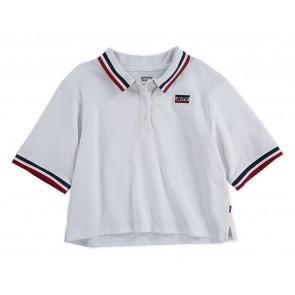 Levi's kids girls cropped polo shirt loose fit in de kleur wit