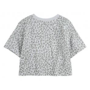 Levi's kids girls cropped t-shirt met panterprint en logo print in de kleur grijs/wit