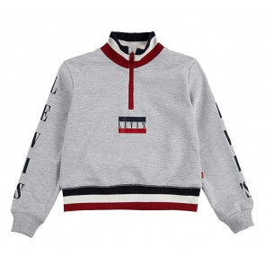 Levi's kids girls cropped sweater trui met mini logo en gestreepte biezen in de kleur grijs