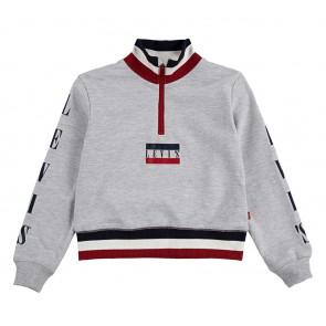 Levi's kids girls cropped sweater trui met mini logo en gestreepte biezen in de kleur grijs