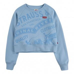 Levi's kids girls cropped sweater trui met fleece laagje in de kleur lichtblauw