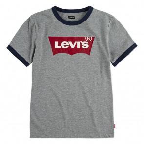 Levi's kids t-shirt met logo print en donkerblauwe biesjes in de kleur grijs