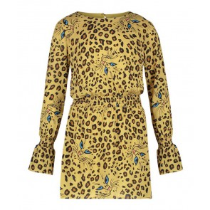AI&KO girls panterprint jurk Cherelle Cat in de kleur sundan brown