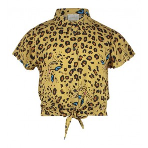 AI&KO girls korte knoop blouse met panter print Cobi Cat in de kleur sundan brown