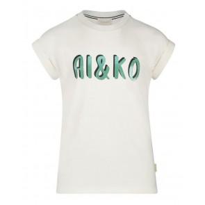 AI&KO girls t-shirt Mila met biesje en glitter letters in de kleur wit