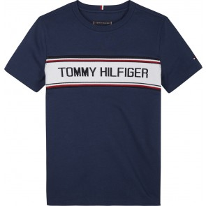 Tommy Hilfiger kids boys t-shirt met logo print in de kleur donkerblauw