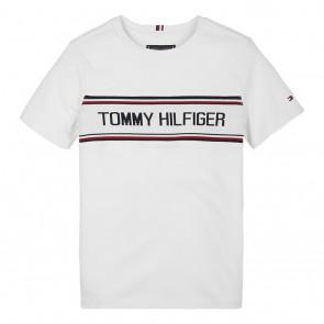 Tommy Hilfiger kids boys t-shirt met logo print in de kleur wit