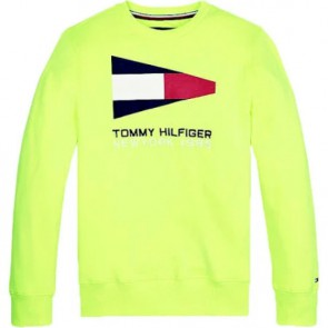 Tommy Hilfiger kids boys sailing flag graphic sweater trui in de kleur neon geel