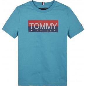 Tommy Hilfiger kids boys t-shirt reflective tee in de kleur groen/blauw