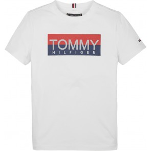 Tommy Hilfiger kids boys t-shirt reflective tee in de kleur wit