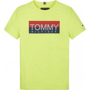 Tommy Hilfiger kids boys reflective hilfiger tee in de kleur fluor geel