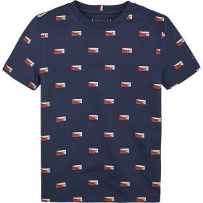 Tommy Hilfiger kids boys t-shirt all over mini print in de kleur donkerblauw