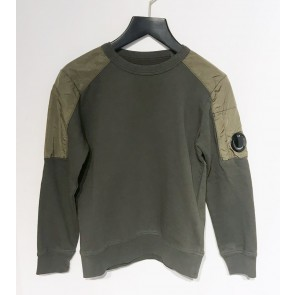 CP Company kids junior sweater trui met parachute stof accenten in de kleur army green