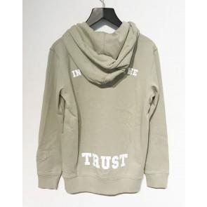 In gold we trust kids hoodie sweater trui met logo print in de kleur lichtgroen/beige