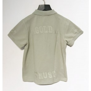 In gold we trust kids polo shirt in de kleur zachtgroen/beige