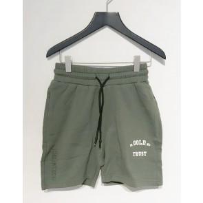 In gold we trust kids korte sweat short broek in de kleur donkergroen