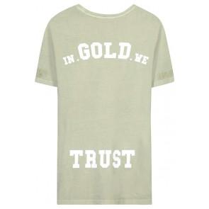 In gold we trust kids the pusha t-shirt in de kleur zachtgroen/beige