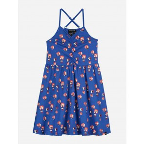 Nik en Nik girls jurk Lois flower dress in de kleur space blue blauw