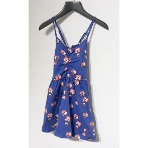 Nik en Nik girls jurk Lois flower dress in de kleur space blue blauw