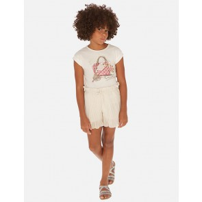 Mayoral kids girls pliseé short in de kleur champagne goud
