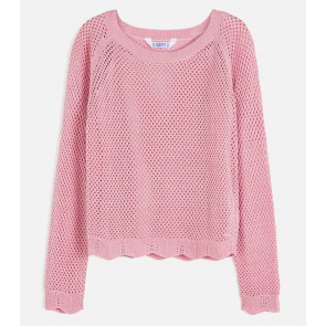 Mayoral kids girls opengewerkte glitter trui met hemdje in de kleur roze