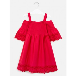 Mayoral kids girls off shoulder broderie jurk in de kleur rood