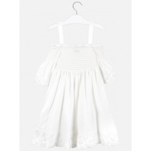 Mayoral kids girls off shoulder broderie jurk in de kleur off white