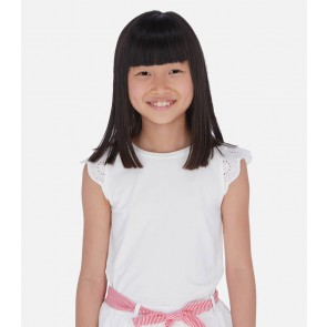 Mayoral kids girls top met broderie mouw in de kleur off white