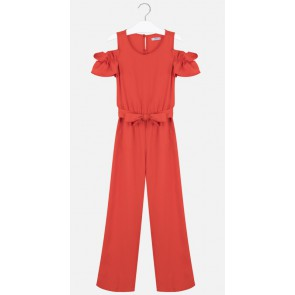 Mayoral kids girls off shoulder jumpsuit van viscose in de kleur rood