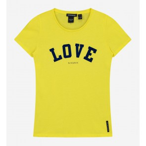 Nik en nik kids girls Love t-shirt in de kleur lemon yellow geel