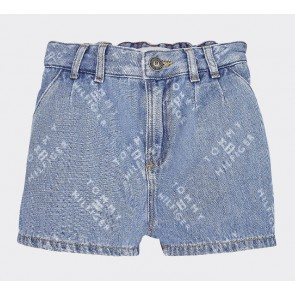 Tommy Hilfiger kids girls korte jeans short all over logo print in de kleur jeansblauw