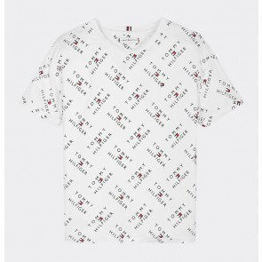 Tommy Hilfiger kids girls all over print t-shirt in de kleur wit