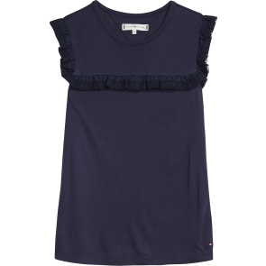 Tommy Hilfiger kids girls broderie mix top in de kleur donkerblauw