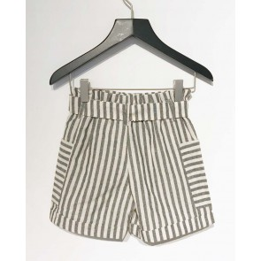 AI&KO girls linnen short korte broek Sharly met strepen in de kleur grijs/off white