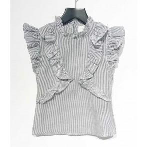 AI&KO roezel top met fijne streep Delhsi in de kleur grijs/wit
