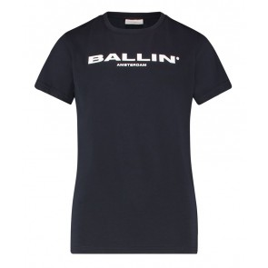Ballin Amsterdam kids t-shirt met logo print in de kleur donkerblauw