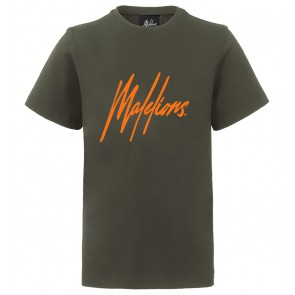 Malelions junior kids t-shirt met oranje logo print in de kleur army green