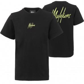 Malelions junior kids t-shirt met gele rug print in de kleur zwart