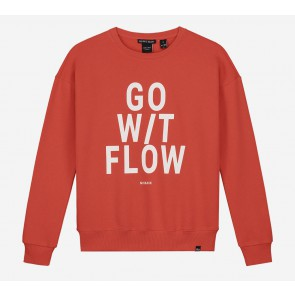 Nik en Nik girls Flow sweater trui in de kleur coral red rood