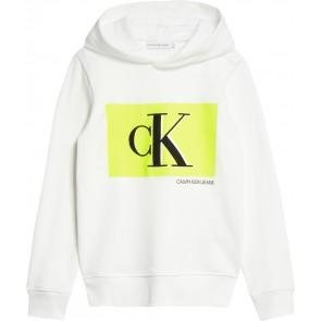 Calvin Klein kids boys monogram contrast hoodie in de kleur wit